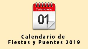 Calendario fiestas locales para el año 2019
