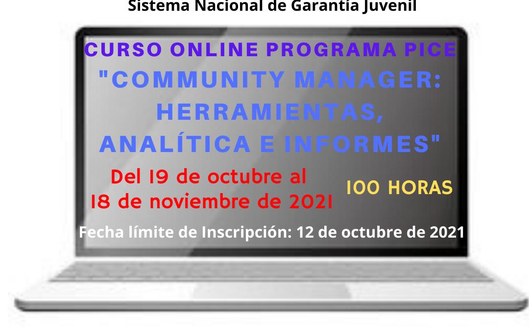 Curso PICE Online Gratuito «Community Manager: Herramientas, Analítica e Informes»