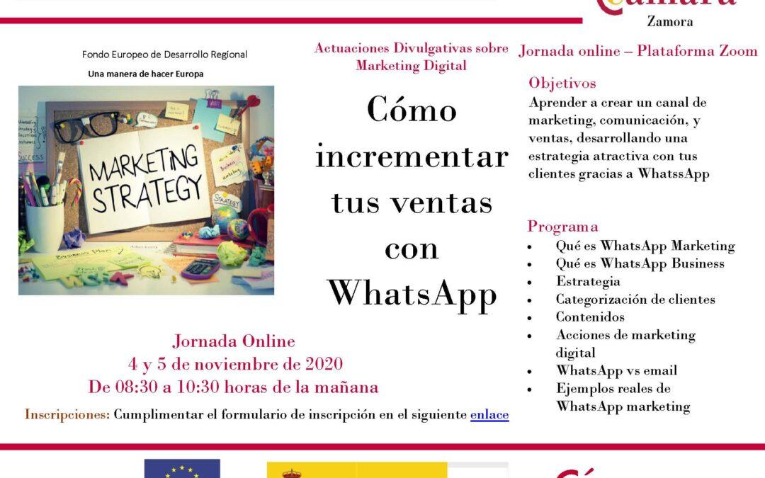 Jornada Online Gratuita «Cómo incrementar tus ventas con WhatsApp»