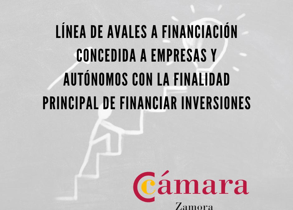 Línea de avales a financiación concedida a empresas y autónomos con la finalidad principal de financiar inversiones