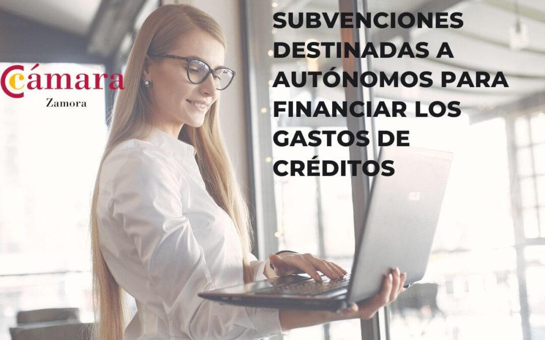 Subvenciones destinadas a autónomos para financiar los gastos derivados de créditos suscritos con Entidades Financieras