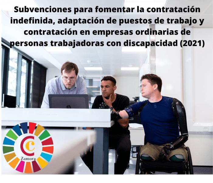 Subvenciones para fomentar la contratación indefinida, adaptación de puestos de trabajo y contratación en empresas ordinarias de personas trabajadoras con discapacidad (2021)