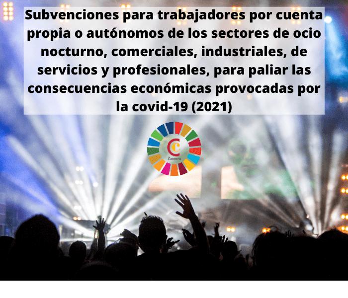 Subvenciones para trabajadores por cuenta propia o autónomos de los sectores de ocio nocturno, comerciales, industriales, de servicios y profesionales, para paliar las consecuencias económicas provocadas por la covid-19 (2021)