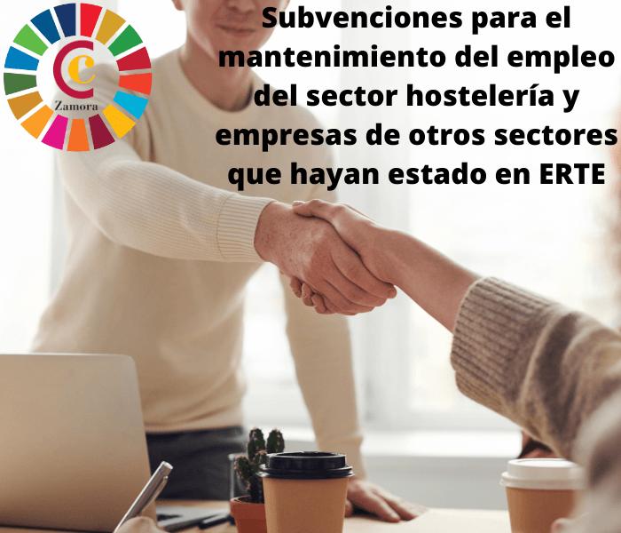 Subvenciones para el mantenimiento del empleo del sector hostelería y empresas de otros sectores que hayan estado en ERTE