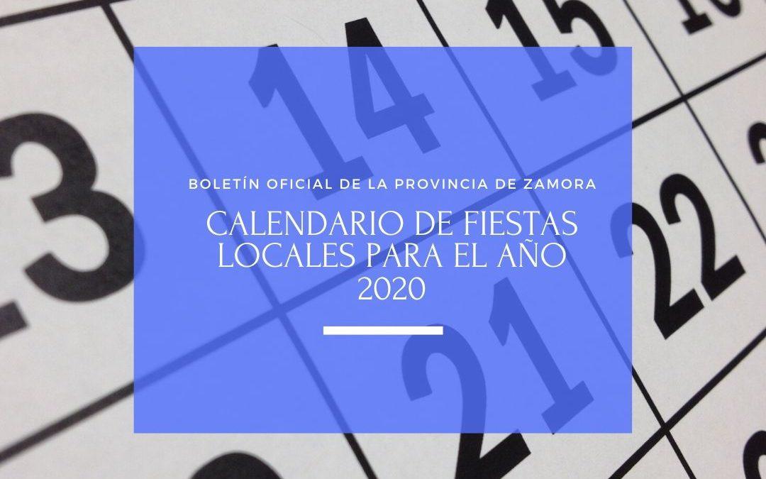 Calendario fiestas locales para el año 2020