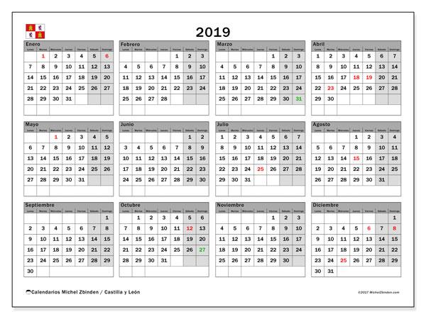 Calendario de fiestas laborales en el ámbito de la Comunidad de Castilla y León para el año 2019
