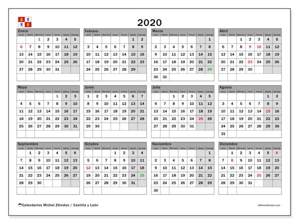Calendario oficial de fiestas laborales en Castilla y León para 2020